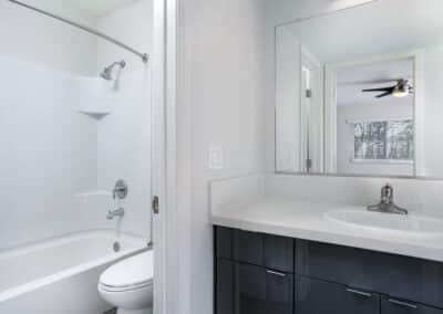 Bathroom showing the elegant white sink, toilet and bathtub